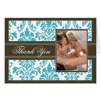 Elegant Damask Custom Thank You Card (aqua/brown)
