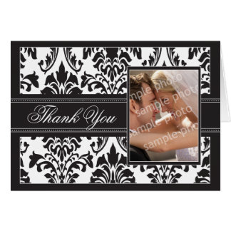 Elegant Damask Custom Thank You Card (black/white)