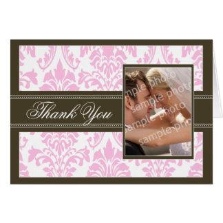 Elegant Damask Custom Thank You Card (pink/brown)