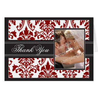 Elegant Damask Custom Thank You Card (red/black)