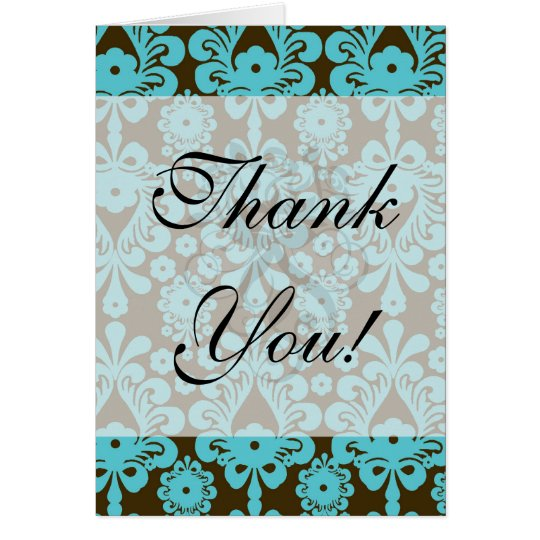 elegant damask design with aqua blue card