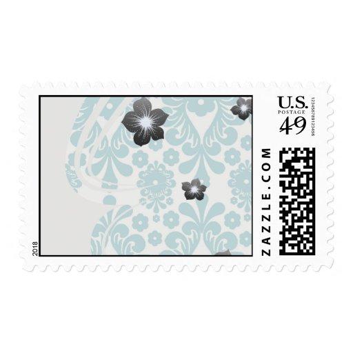 elegant damask design with aqua blue postage stamps