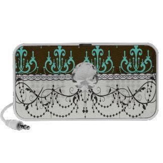 elegant damask design with aqua blue iPhone speaker