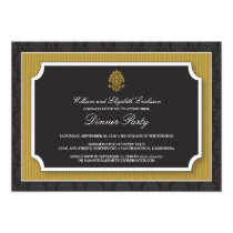 Elegant Damask Dinner Party Invitation (gold)