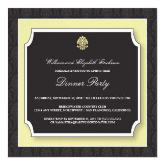 Elegant Damask Dinner Party Invitation (ivory)