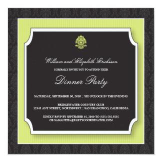 "Elegant Damask Dinner Party Invitation (lime) 5.25"" Square Invitation Card"