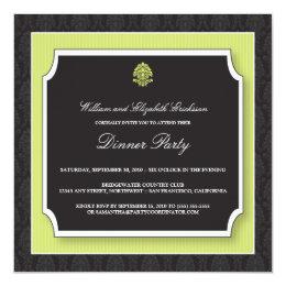 Elegant Damask Dinner Party Invitation (lime)