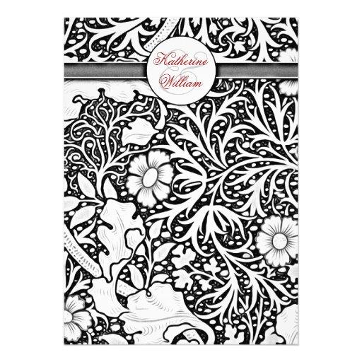 Elegant Nature Damask - Black White Vintage flowers engagement invitations
