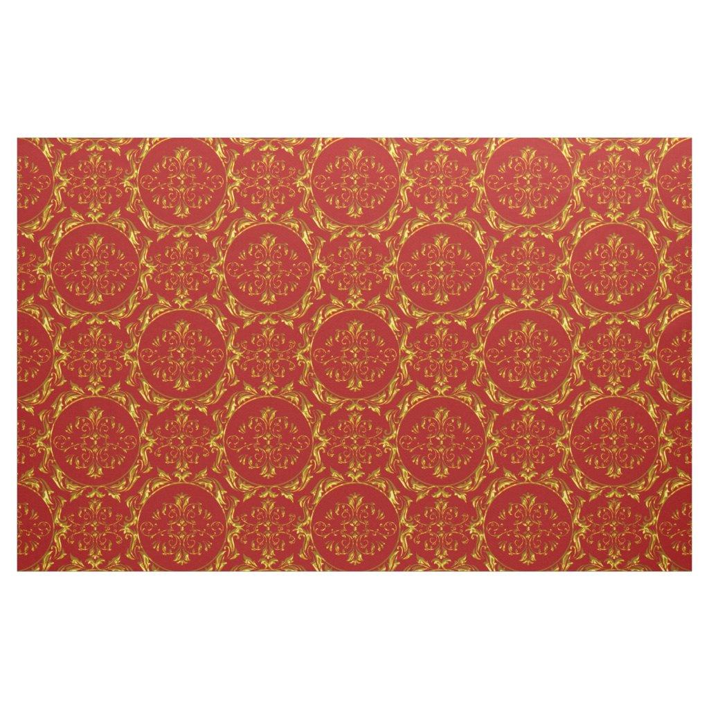 Elegant Damask Fabric Red