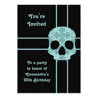 Elegant damask fanged skull birthday party card