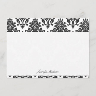 Elegant Damask Flat Note Cards