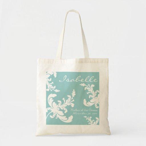 Elegant Damask Floral Bridal Party Tote Bag