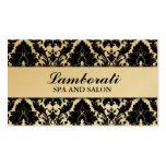 Elegant Damask Floral Pattern Gold Modern Stylish Business Card Template