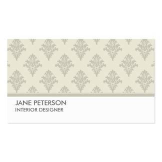 Elegant Damask Floral Pattern Interior Designer Double-Sided Standard Business Cards (Pack Of 100)