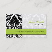 Elegant Damask Floral Pattern Modern Stylish Green Business Card