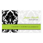 Elegant Damask Floral Pattern Modern Stylish Green Double-Sided Standard Business Cards (Pack Of 100)