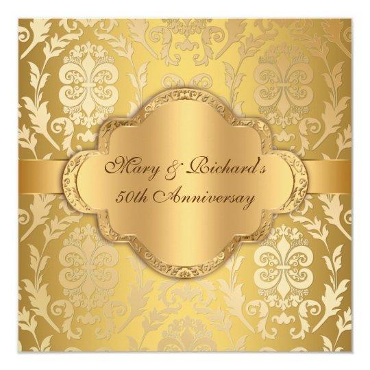 Elegant Damask Floral Swirl Gold 50th Anniversary Card
