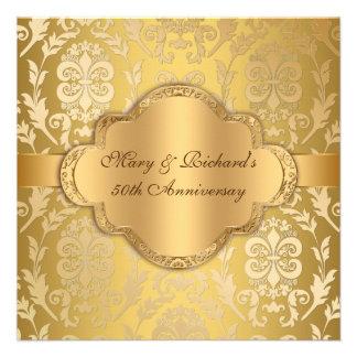 Elegant Damask Floral Swirl Gold 50th Anniversary Custom Invitations