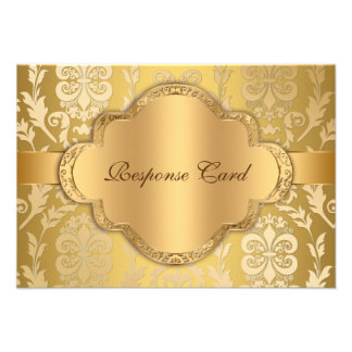Elegant Damask Floral Swirl Gold Anniversary RSVP Personalized Announcement
