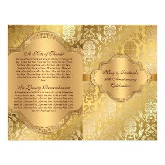 Elegant Damask Floral Swirl Gold Program Flyer