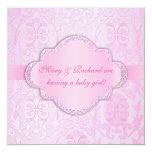 Elegant Damask Floral Swirl Pink Baby Shower Personalized Invite