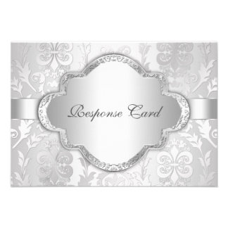 Elegant Damask Floral Swirl Silver RSVP Custom Announcement