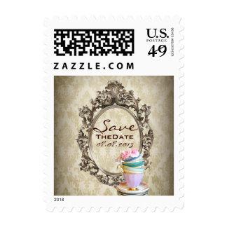 elegant damask  floral vintage save the date stamp