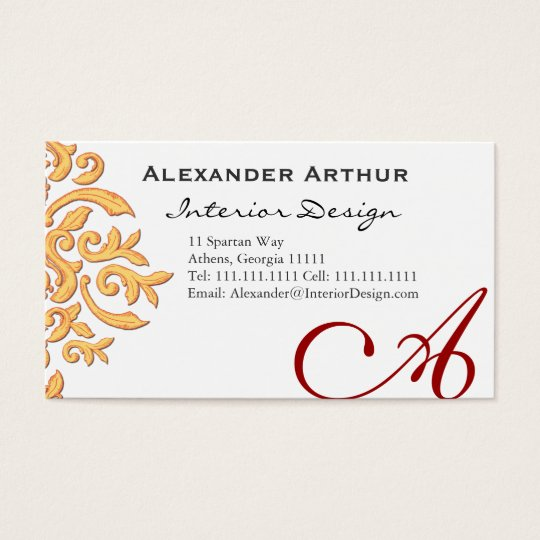 Elegant Damask for Interior Decorator, Restaurant Business Card