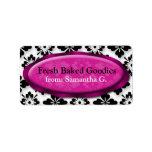 Elegant Damask Fuchsia Baking Labels