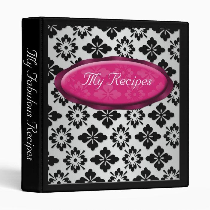 Elegant Damask Fuchsia Personalized Recipe Binder
