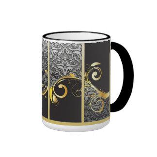 Elegant Damask, Gold Flourish Ringer Mug