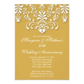 Elegant Damask Gold Wedding Anniversary Invitation