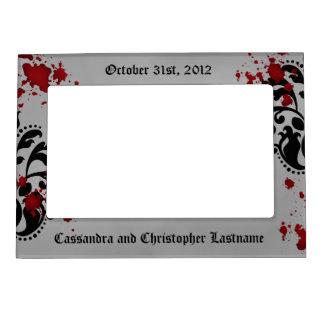 Elegant damask gothic Halloween wedding souvenir Magnetic Photo Frame