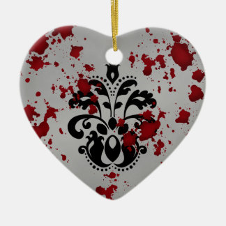 Elegant damask gothic Halloween wedding souvenir Christmas Ornament