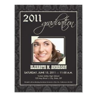 Elegant Damask Graduation Announcement (black)