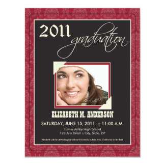 Elegant Damask Graduation Announcement (maroon)
