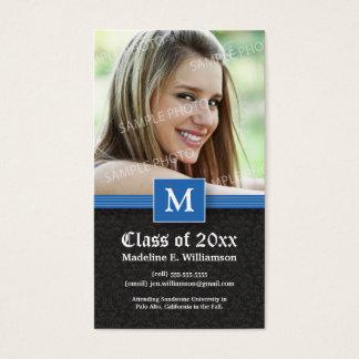 Elegant Damask Graduation Status Card (blue)