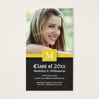 Elegant Damask Graduation Status Card (yellow)