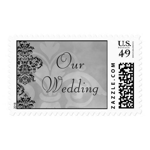 Elegant Damask Gray Black Wedding Stamp