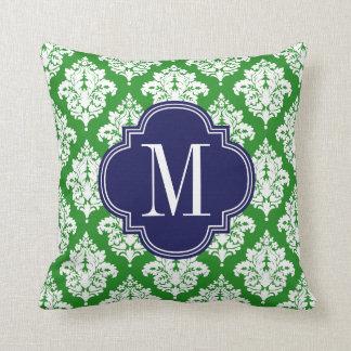 Elegant Damask Green & Navy Custom Monogrammed Pillow