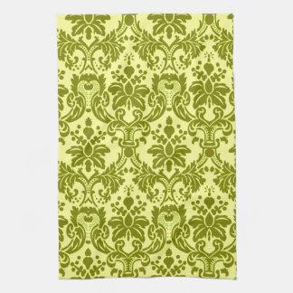 Elegant Damask Green/ Yellow Kitchen Towel