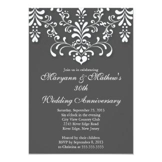 Elegant Damask Grey Wedding Anniversary Invitation