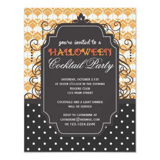 Halloween party invitations zazzle elegant damask halloween cocktail party card stopboris Choice Image
