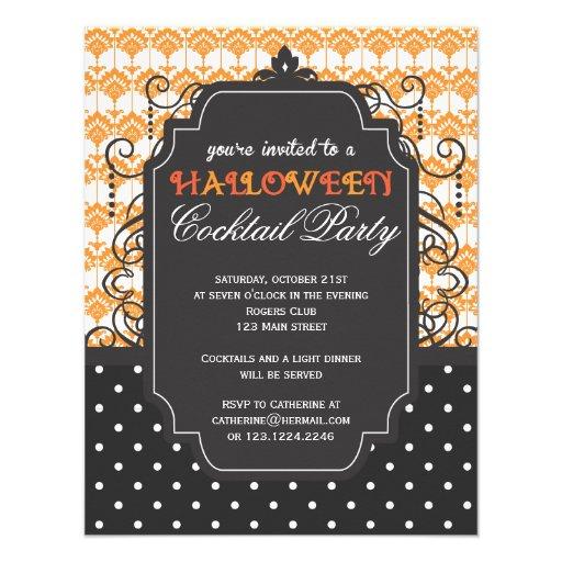 Elegant Damask Halloween Cocktail Party Custom Invitation