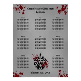 Elegant damask Halloween wedding seating chart Poster