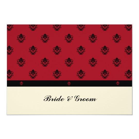 Elegant Damask Heart Red Black Wedding Set Invitat Card