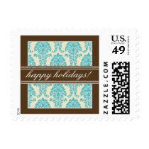 Elegant Damask Holiday Postage (aqua/brown)