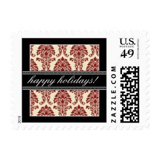 Elegant Damask Holiday Postage (black/red)