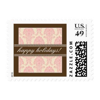 Elegant Damask Holiday Postage (pink/brown)