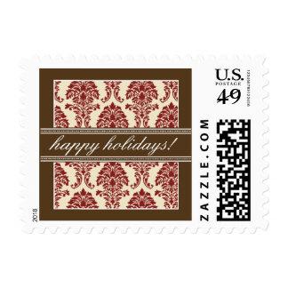 Elegant Damask Holiday Postage (red/brown)